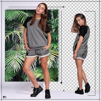 shorts fusion clothing grey short shorts grey shorts girl girly floral tropics t-shirt grey t-shirt
