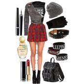 skirt,punk,rock,punk rock skirt,red,plaid skirt,shortskirt,pattern,grunge,jewels,bag