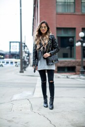 maria vizuete,mia mia mine,blogger,sunglasses,leather jacket,black bag,grey sweater,black jeans,ripped jeans,black boots