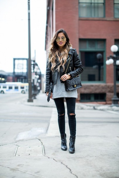 2850f58021306c maria vizuete mia mia mine blogger sunglasses leather jacket black bag grey  sweater black jeans ripped