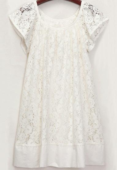 White Short Sleeve Floral Crochet Lace Dress - Sheinside.com