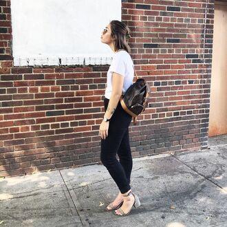 bag louis vuitton backpack mini backpack tumblr backpack jeans black jeans t-shirt white t-shirt sandals mid heel sandals