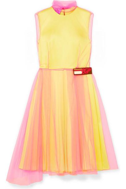 Prada - Layered Tulle And Silk-satin Dress - Yellow