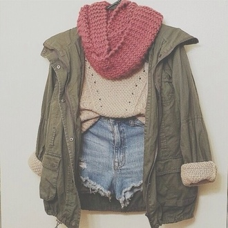 knitted scarf dusty pink infinity scarf parka army green army green jacket beige sweater denim shorts ripped shorts distressed denim shorts fall outfits fall jacket fall sweater green coat green coat jacket shorts sweater blouse scarf spring lalalisaaaa shirt