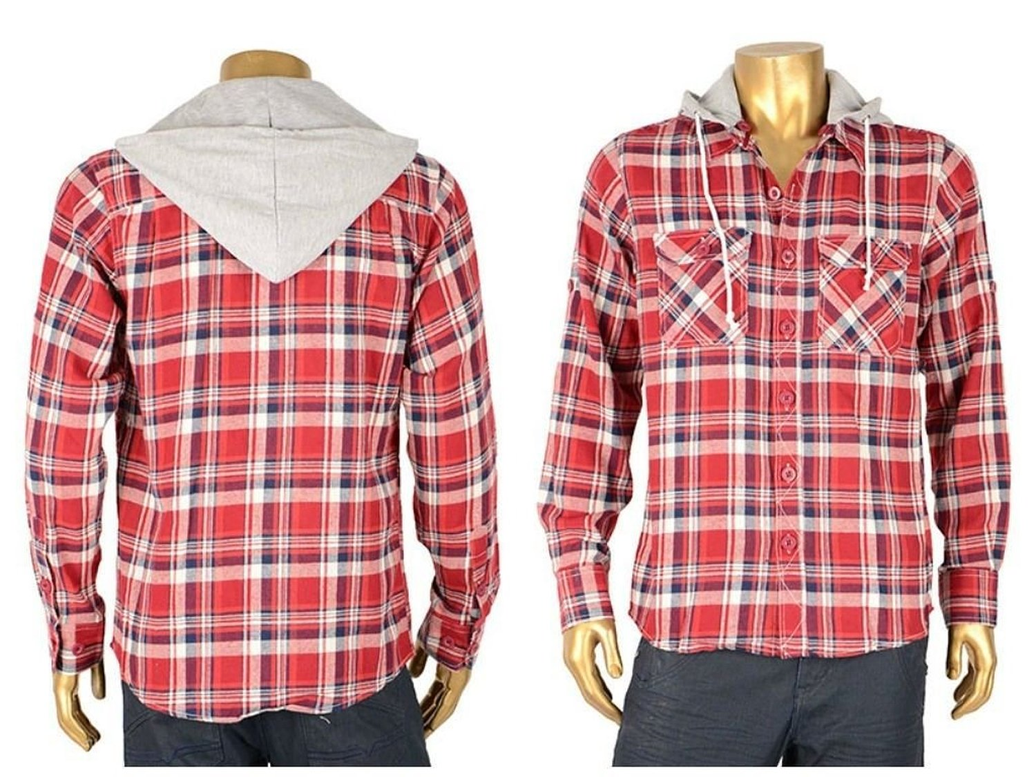 Men's flannel jacket shirt red plaids light warm drawstring pockets100% cotton hooded at amazon men's clothing store: