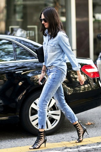 le fashion blogger sunglasses shirt bag belt jeans shoes