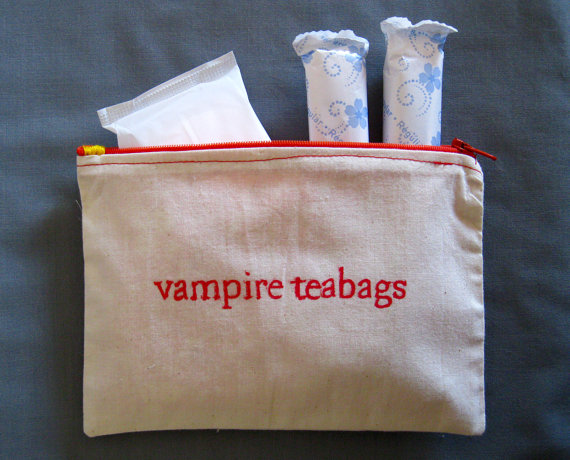 Indiscreet vampire teabags Zip Pouch for Tampons by dreadfulgirl