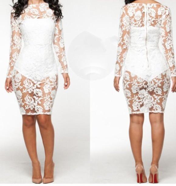 dress lace dress white short
