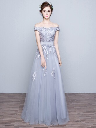 dress prom prom dress grey grey dress maxi maxi dress dressofgirl love lovely pretty cool cute cute dress bridesmaid amazing floral lace lace dress tulledress off the shoulder nice sexy