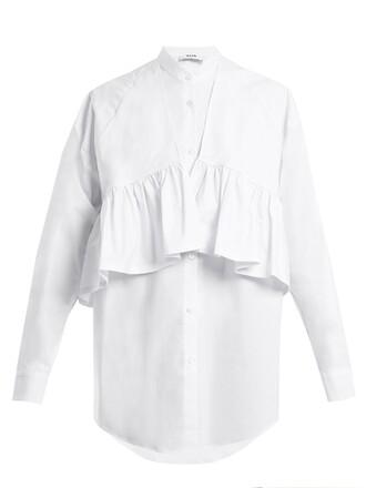 shirtdress oversized ruffle cotton white dress