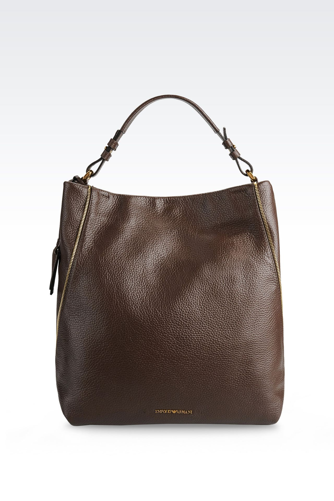 Emporio Armani Women Shoulder Bag - HOBO BAG IN PRINTED CALFSKIN WITH ZIP DETAILS Emporio Armani Official Online Store
