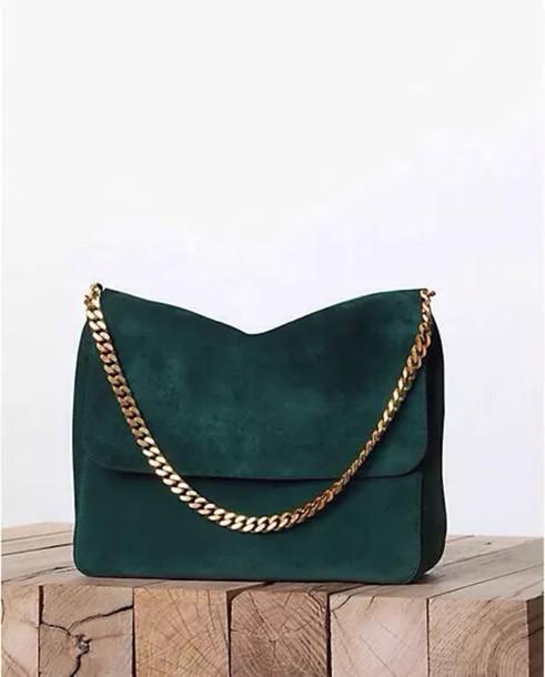 Bag: green, designer bag, chain bag, gold chain, forest green ...