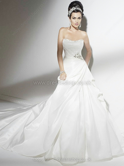 A-line Strapless Taffeta Court Train Beading Wedding Dresses - www.dresseshop.co.uk