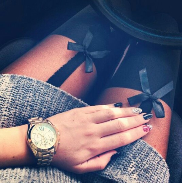 jewels socks bows black pretty tights leggings underwear cute long sweaters watch clothes