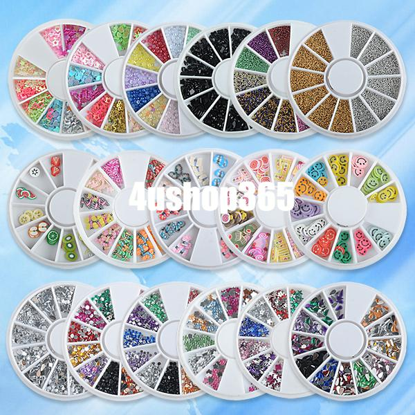 Smiling Face Beads Rhinestones Fimo Clay Wheel Nail Art Slices ...