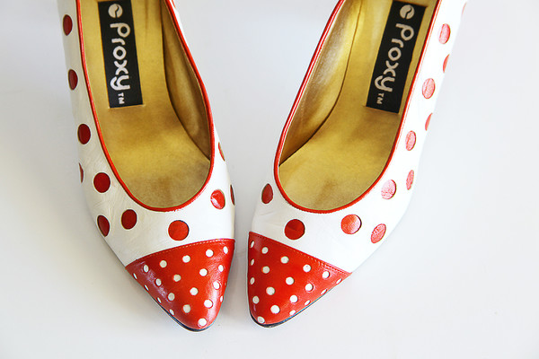 shoes vintage proxy heels funny 1980 retro funny polka dots