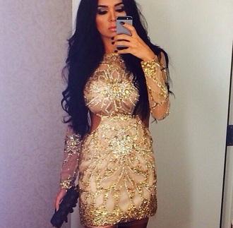 dress nude long sleeves short short dress tight nude dress gold dress pailettes long sleeve dress