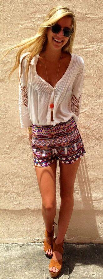 short bohemian blouse aztec girly clothes shorts