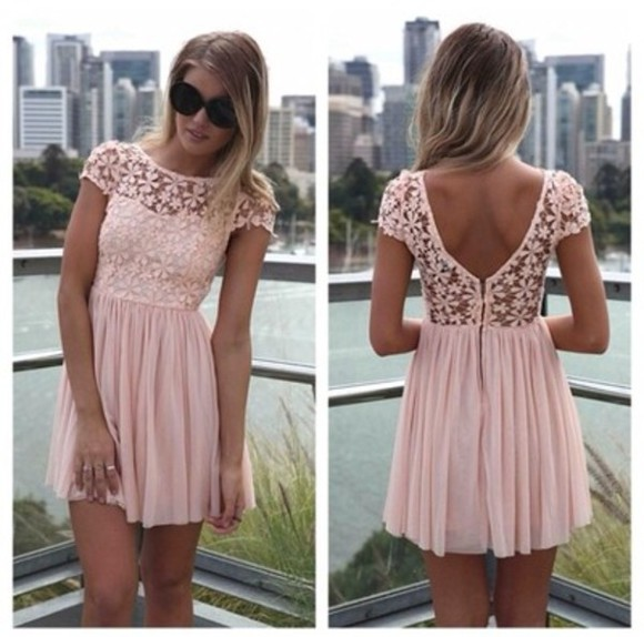 dress casual clothes cute perfect model chic cheep pink flower blonde skate mode shoulder