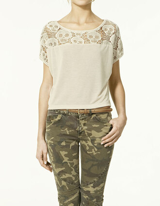 skull lace embroidered yellow t-shirt white t-shirt t-shirt