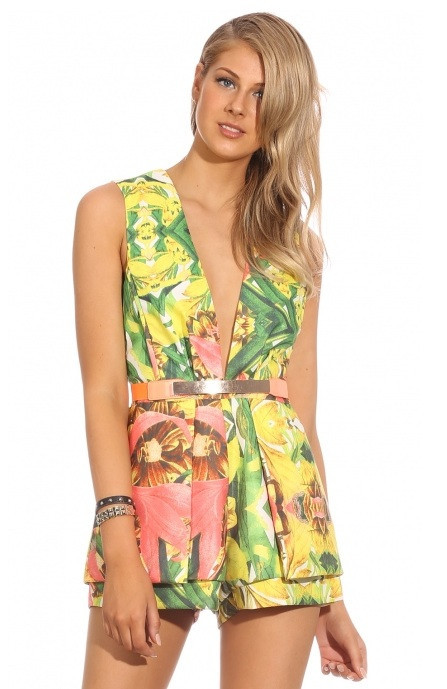 "Chic ""next in line"" tropical print playsuit (2 colors available) – glamzelle"