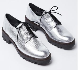 shoes silver mellow yellow derbies metallic metallic shoes