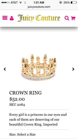 jewels crown juicy couture ring princess