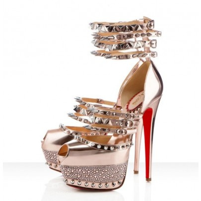 Replica Christian Louboutin Isolde 160mm Peep Toe patent leather High Heels pumps In Gold