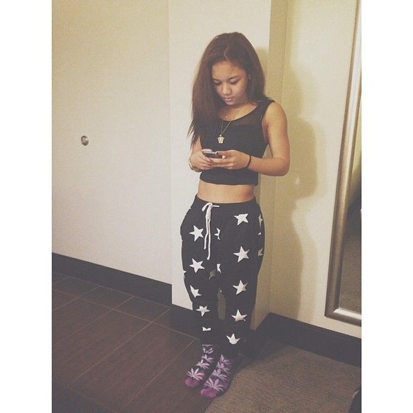 pants sweatpants wolftyla black and white stars