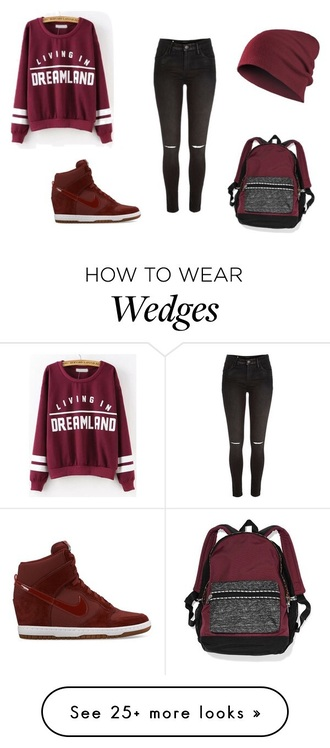 bag backpack ripped jeans wedges