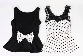 top bow top polka dots cute top girly