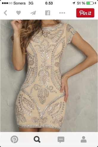 dress embellished dress perfect dress nude pearls beads