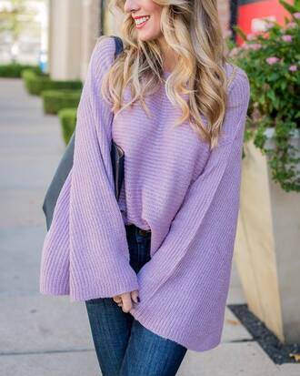 sweater bell sleeves tumblr bell sleeve sweater lilac knit knitted sweater