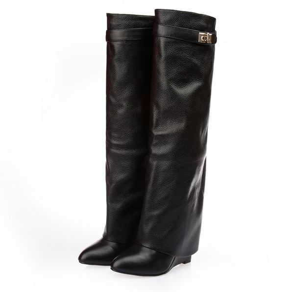 Celebrity fashion leather shark wedge boots · tumblr fashion · online store powered by storenvy