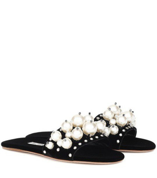 Miu Miu embellished velvet black shoes