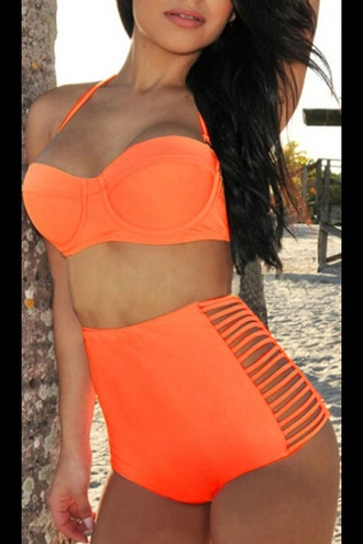 top coral orange bikini bikini top bikini bottoms highwaisted swimwear underwear