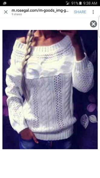 sweater white heavy knitwear knitted sweater