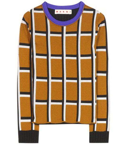 Marni Printed Virgin Wool-blend Sweater in brown