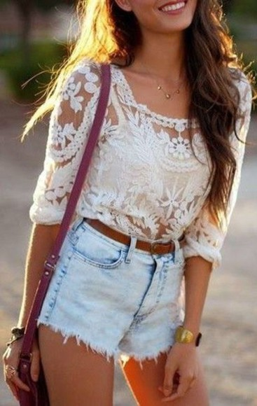 lace shirt tan top jean shorts, light wash, high waisted white shirt shorts dentelle boho denim shorts blouse White lace top summer trend