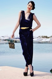 serial klother,pants,belt,cropped velvet pants,velvet,blue pants,platform pumps,pumps,high heel pumps,embellished bag,embellished,sleeveless top
