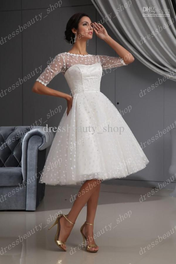 Dresses:2013 Elegant Dotted Tulle Lace Hem Short Knee Length Wedding Dresses Ball Gown Beach Long Sleeves - wedding007.com