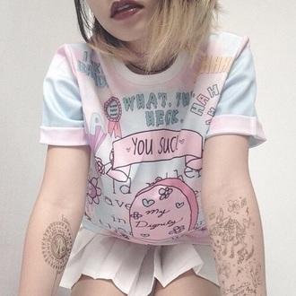 t-shirt pastel pink pale grunge vintage girl skinny pants pastel