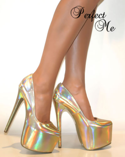 LADIES GOLD CONCEALED PLATFORM COURT SHOE EXTREME STILETTO HIGH HEELS PUMPS PROM | Amazing Shoes UK