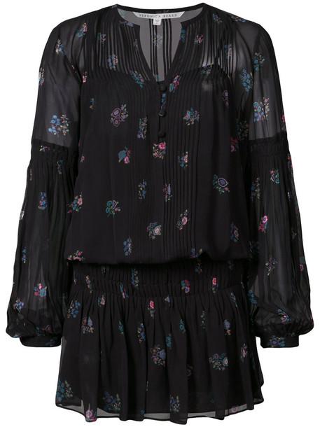 Veronica Beard dress shift dress embroidered women black silk