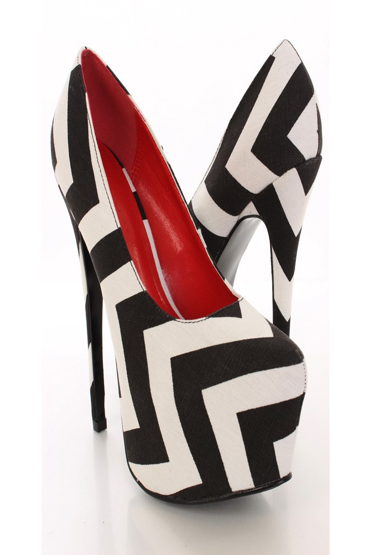 Black White Chevron Print Fabric Platform Pumps @ Amiclubwear Heel Shoes online store sales:Stiletto Heel Shoes,High Heel Pumps,Womens High Heel Shoes,Prom Shoes,Summer Shoes,Spring Shoes,Spool Heel,Womens Dress Shoes,Prom Heels,Prom Pumps,High Heel Sanda