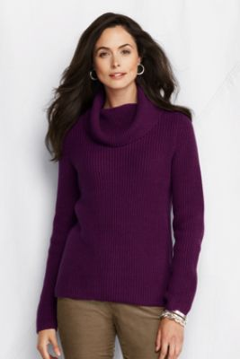 Women's Lofty Cotton Blend Shaker Cowl Sweater from Lands' End