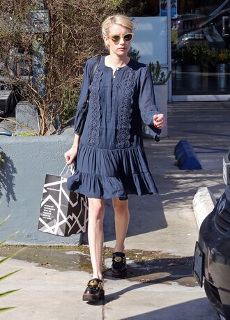 dress emma roberts navy navy dress fall outfits