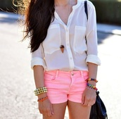 blouse,white,long sleeves,see through,pink shorts,button up,shorts,short,pink short,shirt,white shirt,summer outfits,chemise,accessories,bracelets,bag,jewels,dress