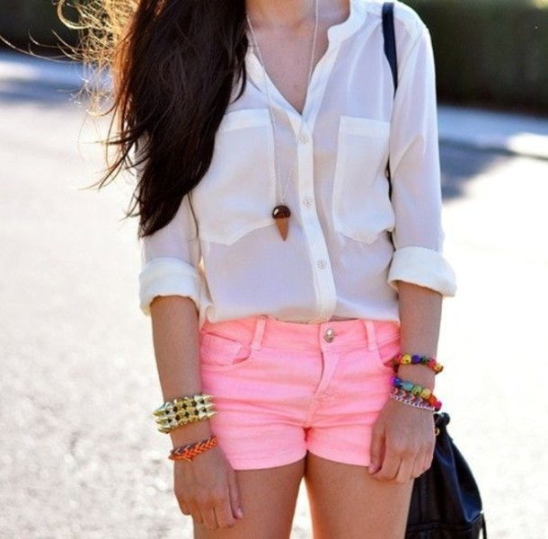 blouse white long sleeves see through pink shorts button up shorts short pink short shirt white shirt summer outfits chemise accessories bracelets bag jewels dress