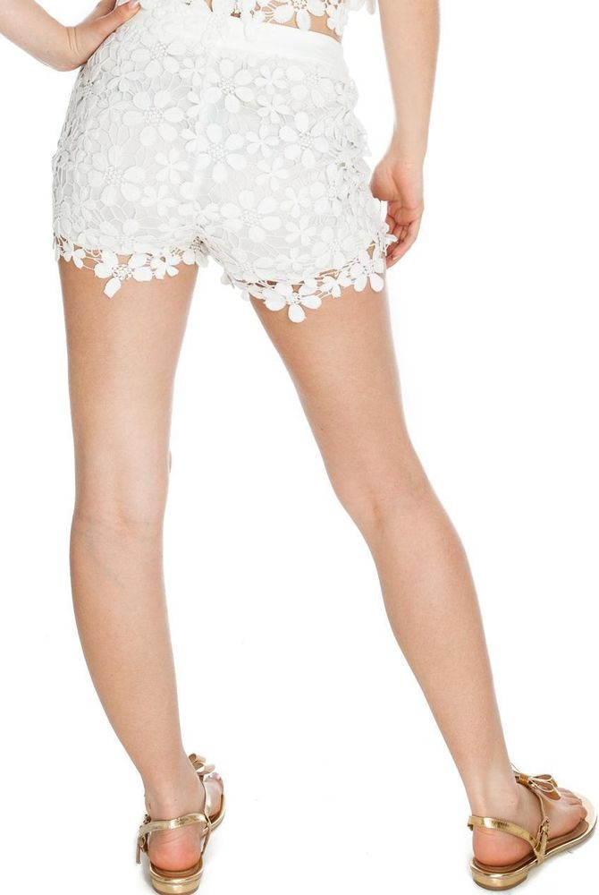 BOUTIQUE WHITE LACE SHORTS 12 | eBay